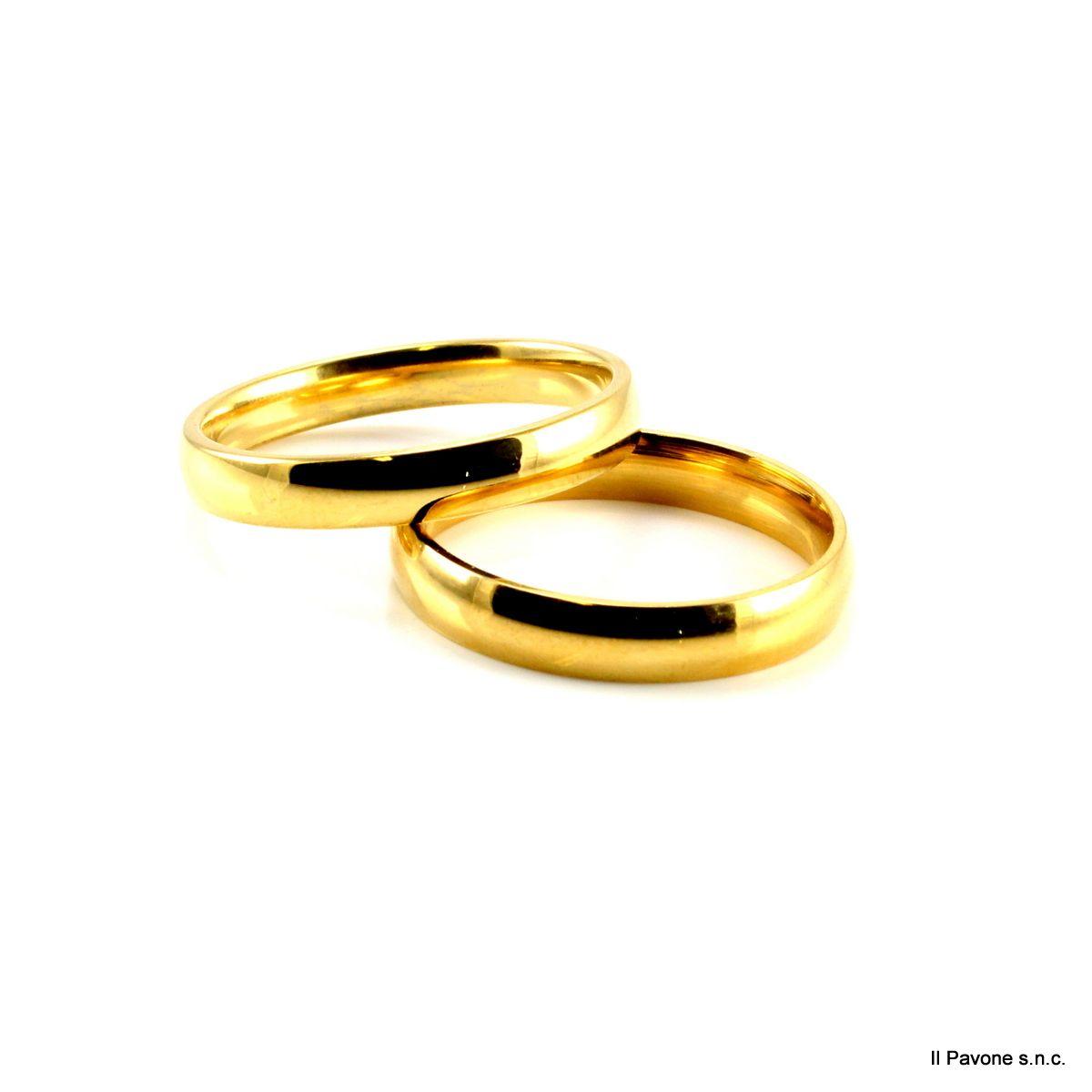 Anello Acciaio Francesina Oro 4mm