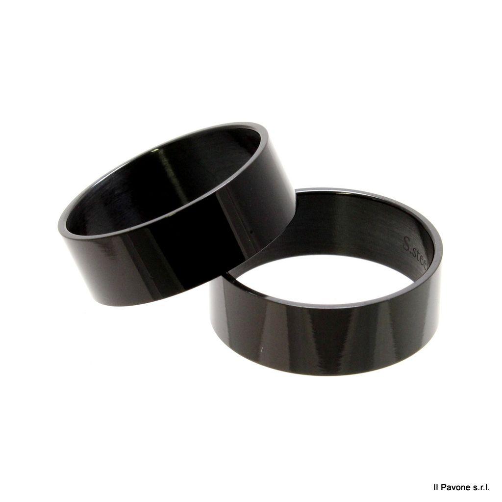 Anello Acciaio Piatto 8mm Nera