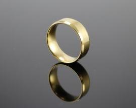 Anello Acciaio Piatto Oro 8mm