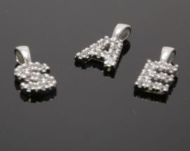 Ciondoli Argento Lettere Zirconi