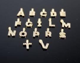Ciondoli Argento Lettere Zirconi ORO