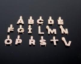 Ciondoli Argento Lettere Zirconi ORO ROSA
