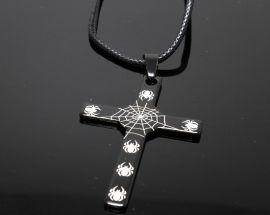 Ciondolo Acciaio Croce Teschi