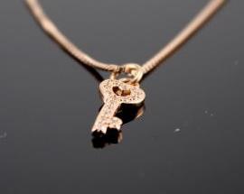 Collana Argento chiave Oro Rosa